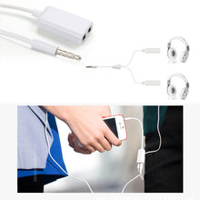 New Hot Universal 1PC White 3.5mm Earphone Headphone M 1 to 2 Dual for Audio Splitter Cable Adapter Jack for All Moblie Phone