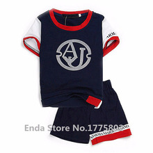 2015 Summer Classic Brand Kids baby boys gIrls clothes set suit for baby children short sleeve +shorts clothing 2-7 year(China (Mainland))