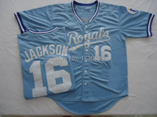 #16 Bo Jackson Jersey Kansas Royals Jersey Throwback 100% Stitched Baseball Jersey White Blue Free Shipping Top Quality(China (Mainland))