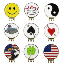 Golf Training Aid Accessories Metal Golf Ball Marker with Magnetic Golf Hat Clip Antique Brass, 5 Pieces(China (Mainland))