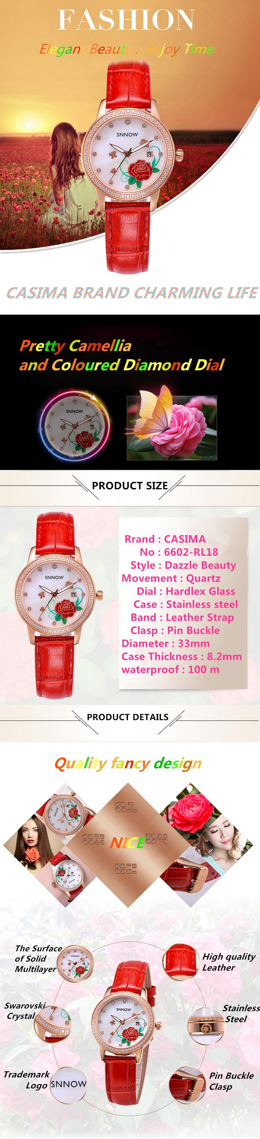 Casima SNNOW серии мода женские часы грейс womem кварцевые часы водонепроницаемые световой кожаный ремешок 6602