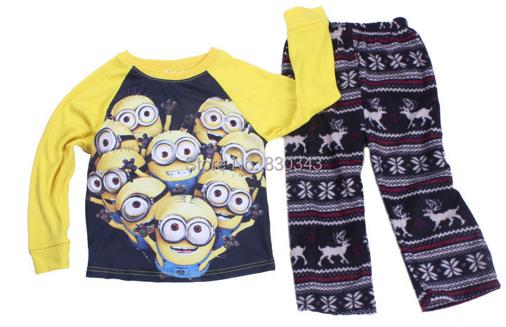 2015 New kids boys minions winter long sleeve Knitting cotton top+Fleece pants pajama sets sleepwear pyjamas()