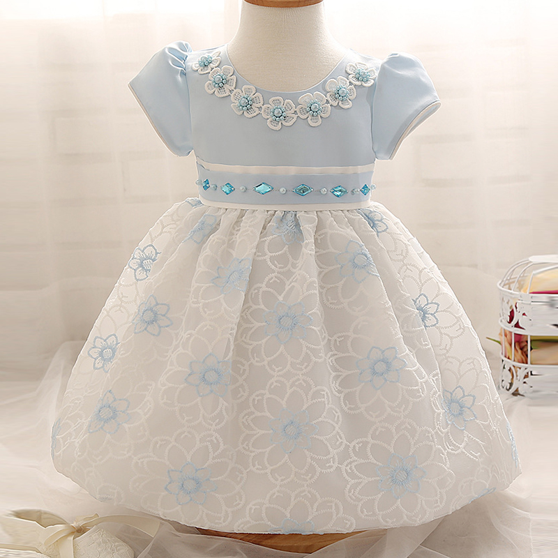 Newest Infant Baby Girl Birthday Party Dresses Baptism Christening Easter Gown Toddler Princess Lace Flower Dress for 0-2 Years(China (Mainland))