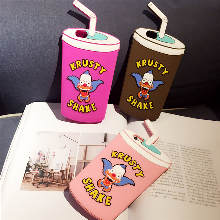 New Arrival 3D Soft Cartoon Silicone Case The Simpsons Krusty Shake Drink Cup Bottle for iPhone 6 6S/6S Plus 6plus Fundas Capa(China (Mainland))