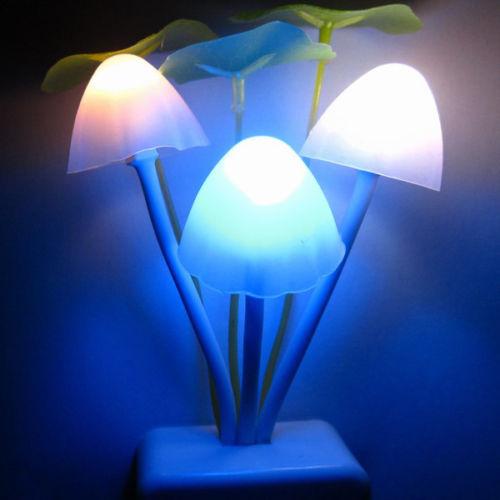 EU/US Plug Romantic Colorful Sensor LED Mushroom Night Light Lamp Home Decor<br><br>Aliexpress