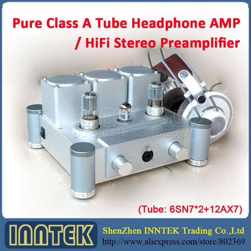 Hi-End Pure Class A Tube Headphone Amplifier HiFi Stereo Preamplifier ( Tube 6SN7 x2 + 12AX7 )(China (Mainland))