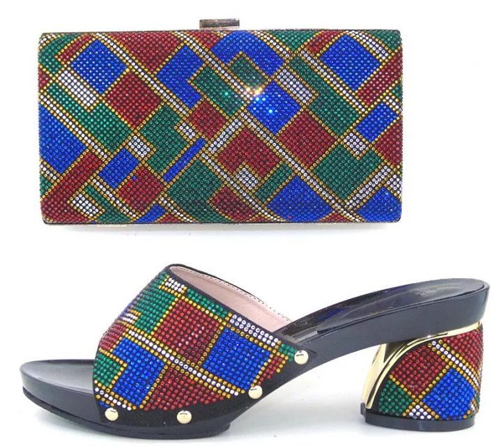 Charming Italian Shoes With Matching Bags Rhinestones Gold High Quality African Shoes And Bags Set for Wedding 1701v0522d28
