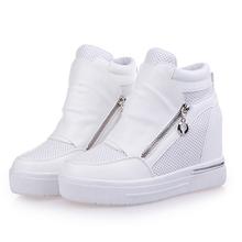 free shipping shoes womancasual  shoes zipper increasing heel zapatos de tacon alto black shoes casual zapatillas mujer 57(China (Mainland))