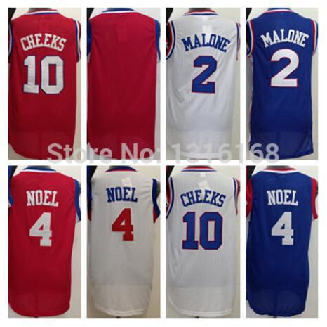 2015 New Style Blank Basketball Jersey 4 Nerlens Noel 10 Maurice Cheeks 2 Moses Malone Jerseys Home Road Away Red Blue White(China (Mainland))