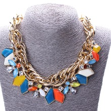 Vintage Pendant Crystal Rhinestone 18K Gold Plated Choker Jewelry For Women Short*Statement Necklace(China (Mainland))