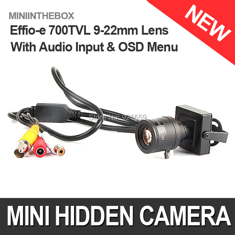 HD 700TVL Effio-e 960H Sony CCD Mini CCTV Home Security Tiny FPV Audio Mic Camera OSD D-WDR 9-22mm Manual Focus Zoom Lens