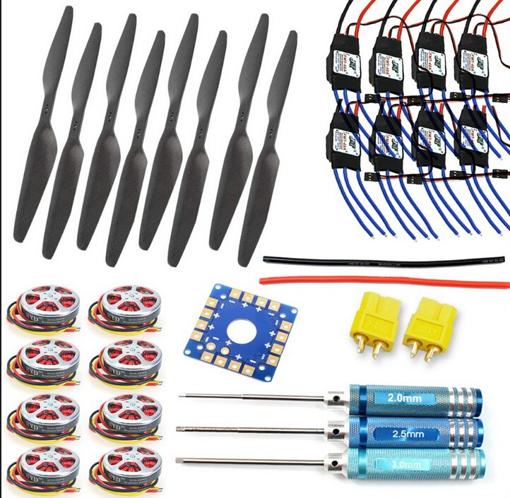 F05423-F JMT KK Connection Board+350KV Brushless Disk Motor+16x5.0 Propeller+40A ESC Foldable Rack RC Helicopter Kit(China (Mainland))