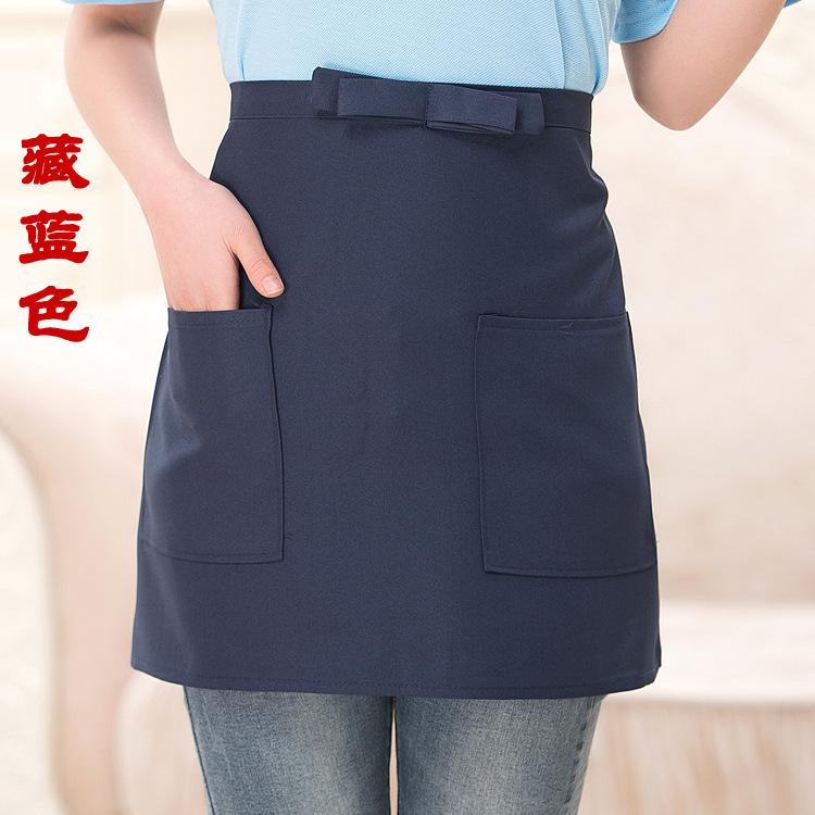 Black Short Waist Bistro Pocket APRON for Bar Cafe Pub Waiter Waitress Barista(China (Mainland))