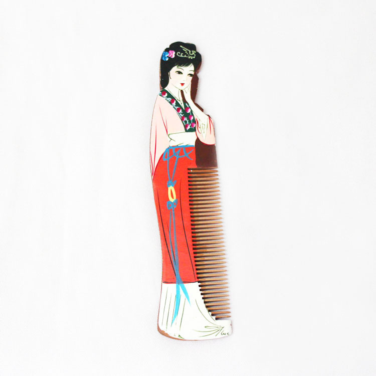 Women Wooden Comb Chinese Ancient 12 Beauties of Jinling Wood Hair Combs Changzhou Hand-Painted Xiang Yun Gift for Friends Y907A(China (Mainland))