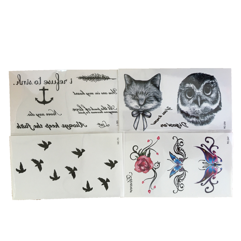 4 PCS Sexy Wrist Flash Fake Tattoo Stickers Liberty Small Birds Fly Black Pattern Owl Tattoo Stickers Animal Body Art(China (Mainland))