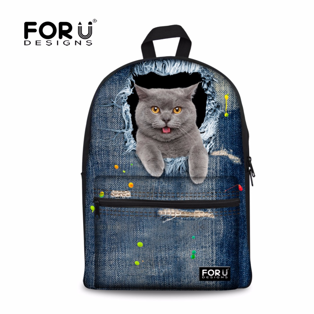Cute Black Cat Women Canvas Backpacks Vintage 3D Animal Printing Travel Sport Daypack Demin Blue School Bags for Teenager Girls(China (Mainland))