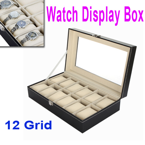 12 Grid Leather Watch Display Show Case Box Jewelry Collection Storage Organizer Holder Free Shipping wholesale(China (Mainland))