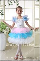 2013 Stylish white with blue and pink  Style Girl Kids Pageant Wedding Dress Size4.6.8.10.12.14.16