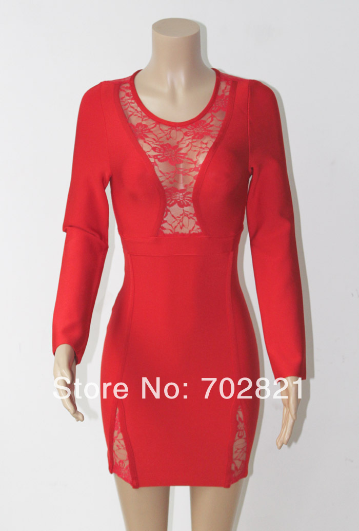 2014 new women long sleeve prom bandage dress lace hollow out O-neck red color party celebrity free shipping HL2331(China (Mainland))