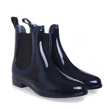 2015 New Fashion Women Boots Solid Elastic Sides Stiching Low Heel Ankle Rainboots For Women Shoes  Free Shipping(China (Mainland))