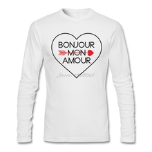 Bonjour Mon Amour T-Shirt men fashion Trendy Style Shirts 80s Custom printed Size M t-shirt Teenage Costumes(China (Mainland))