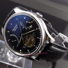 Parnis 43mm power reserve black dial seagull movement date black leather strap Automatic movement Men's watch P230(China (Mainland))
