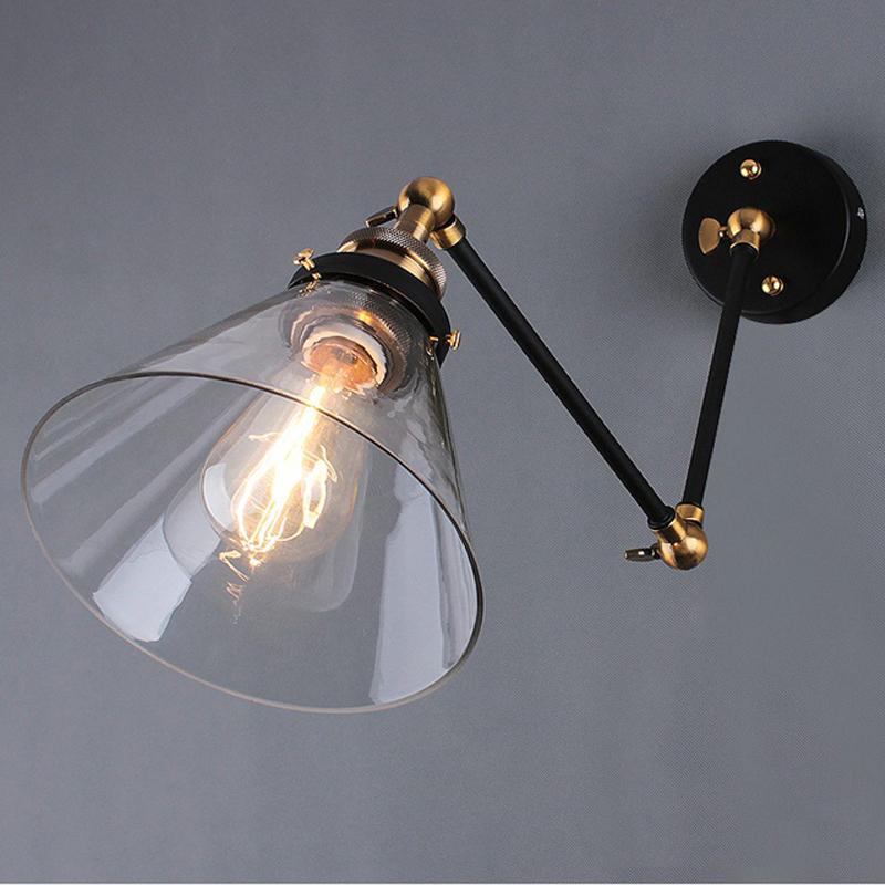Здесь можно купить  Free shipping Retro vintage Wall Lamp Sconces Glass Shade RH Restoration Light Fixture E27 Wall lights Mount Swing Arm Lamps  Свет и освещение