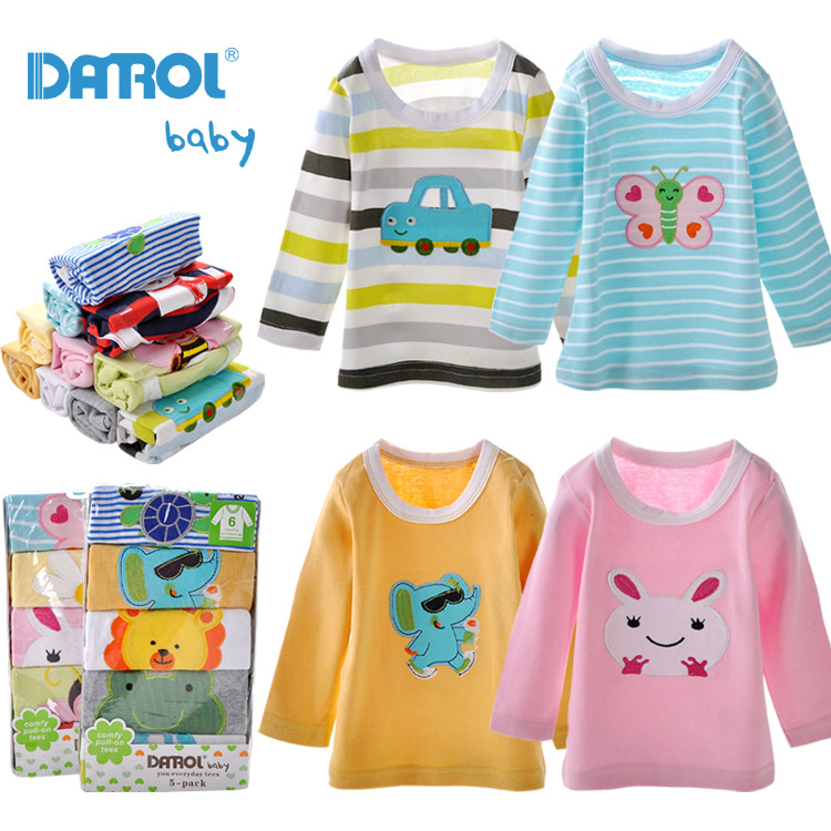 5 Pieces A Lot Baby Boys Girls T Shirt DANROL Cartoon Tee Embroidered Round Neck Long Sleeve Cotton Infant Kids Baby T-Shirt(China (Mainland))
