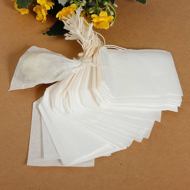 100pcs Healthy String Heat Seal Filter Paper Herb Loose TeaBags 5 5 x 6 cm