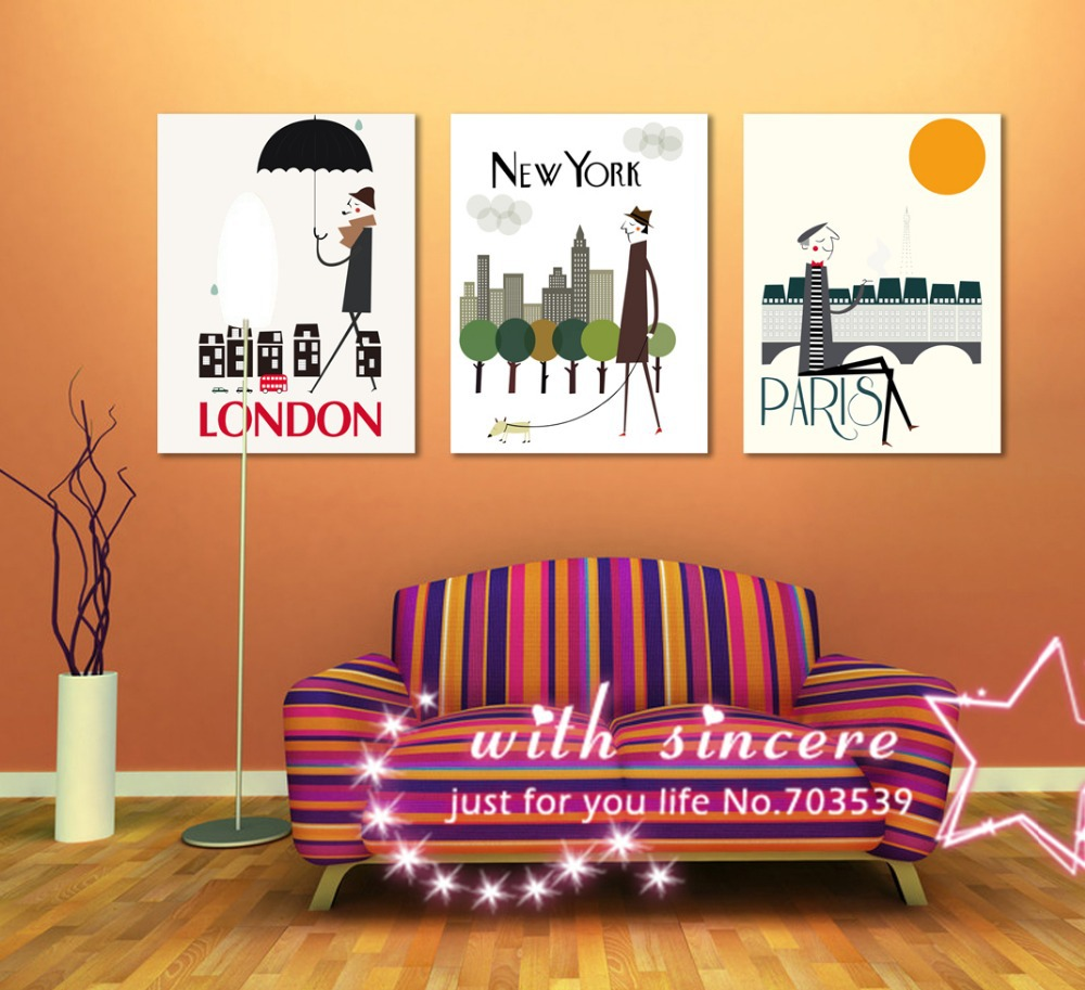 Free shipping no frame 3 pieces picture wall art home for Home decorations london