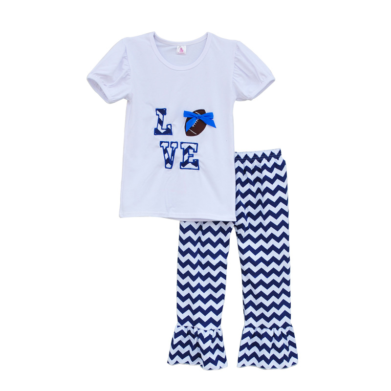 Cheerleader Design Girls Boutique Clothing Set LOVE Embroidered Football Deco White Blue Chevron Ruflle Pants Outfits G002(China (Mainland))