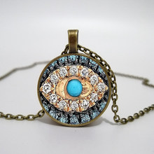 Collier mauvais œil bonne chance collier d'art Talisman Eyeliner collier en verre imprimé, collier pendentif, photo à la main(China)