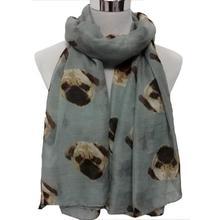 Best-seller Lady Womens Long Cute Pug Dog Print Scarf Wraps Shawl Soft Scarves Jan5(China (Mainland))