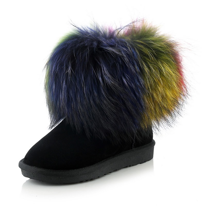 New arrival full genuine leather raccoon fur winter snow boots round toe flat heel ankle boots fashion women boots size:34-43(China (Mainland))