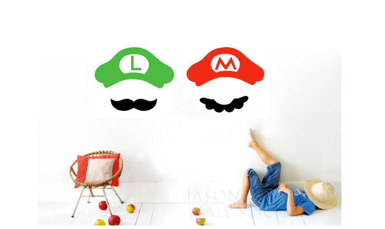 Luigi Video Game Baby Clothes - Super Mario Brothers - Nintendo Onesie stickers on the wall art for kids 23*28CM Free shipping(China (Mainland))