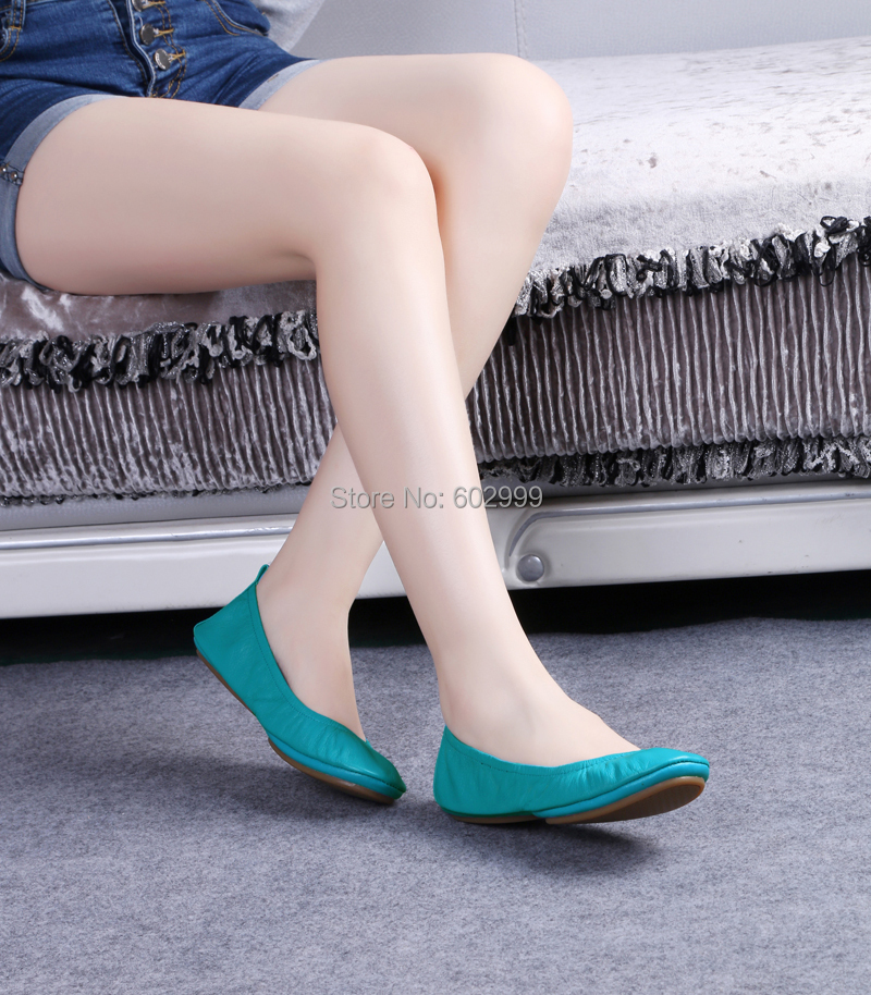 Women's Leather Split Sole Rollable Foldable comfortable Dance Pregnant Ballerina Ballet Flats shoes for Party Wedding Travel(China (Mainland))