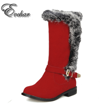 La Moda de las mujeres Mediados de-Becerro de Pelo de Conejo de Nieve Botas de Mujer Zapatos de Invierno Cálido Botas de tacón Bajo Punta Redonda botas de TAMAÑO 28-52(China (Mainland))