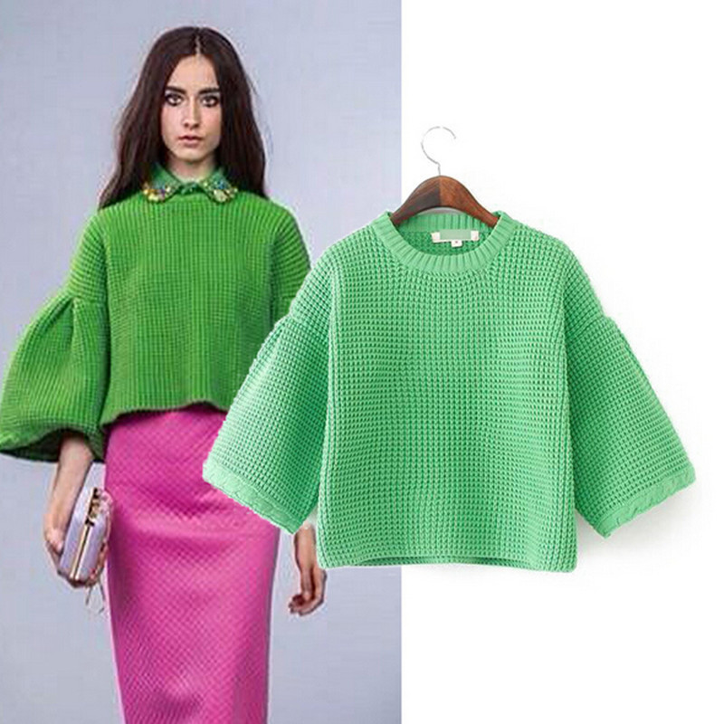 Solid Pullovers Womens Sweaters Long Flare Sleeve Round Neck Green Rose Red Woman Knitwear Autumn Winter 2014 New Ladies Coats - Nanafast Fashion Style Shop store