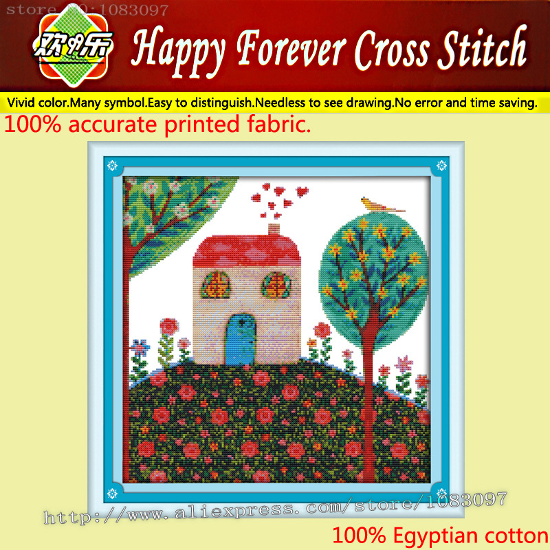Yearning for spring Scenic (8),11CT pattern printed on fabric embroidery Cross Stitch kits hand made needlework Sets house decor(China (Mainland))