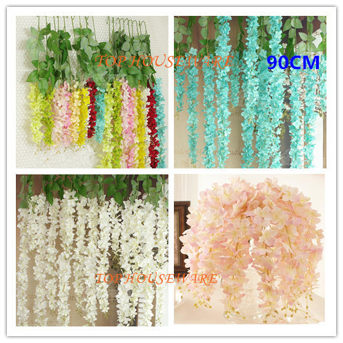 10Colors 90CM Artificial Wisteria Silk Flower Vine For DIY Home Party Wedding Garden Floral Decoration Living Room Valentine Day(China (Mainland))