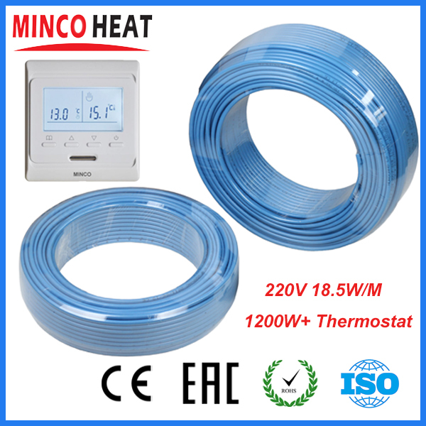 230V Single Conductor Underfloor Heating Cable 1200W + Programmable Thermostat<br><br>Aliexpress