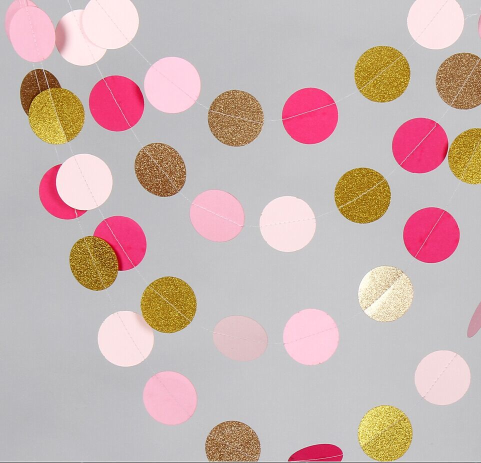 12 ft Gold Pink Paper Garland For Wedding Baby Shower New Year Birthday Decorations(China (Mainland))