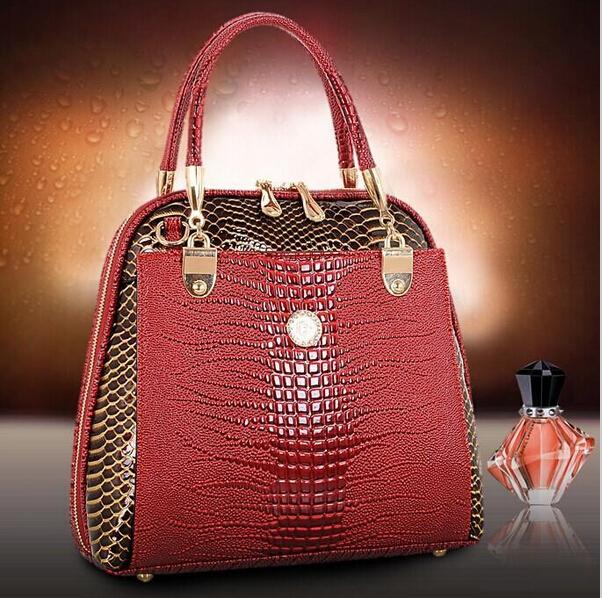 2015 New Luxury OL Lady bags famous brands Crocodile Pattern Hobo Handbag Tote Fashion Lady genuine leather bag(China (Mainland))