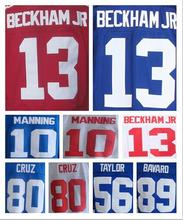 10 Eli Manning 13 Odell Beckham Jr jerseys 80 Victor Cruz 90 Jason Pierre-Paul 56 Lawrence Taylor 89 Mark Bavaro jersey(China (Mainland))
