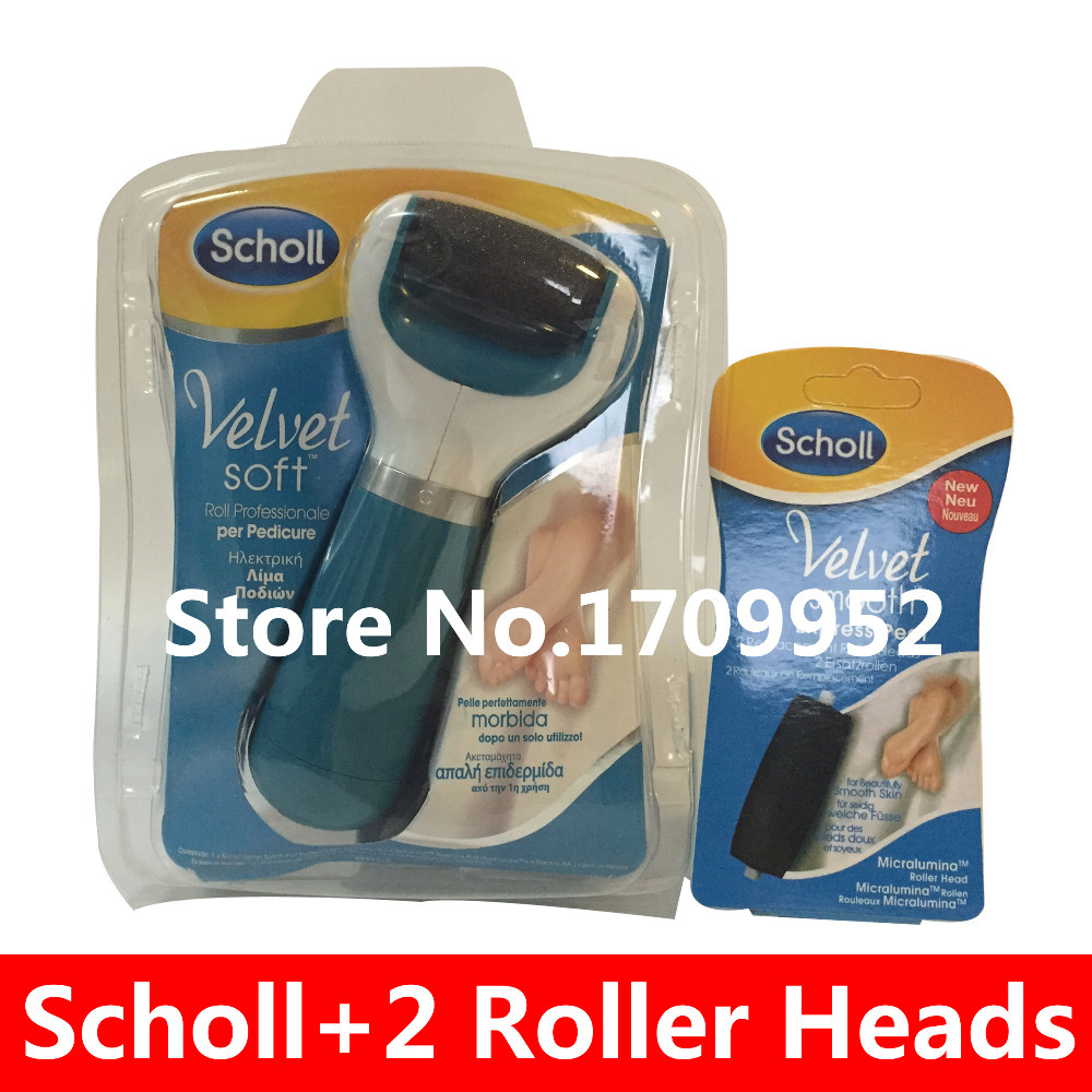 Scholl Set - Velvet Smooth Express Pedi Electronic Foot File Professional Feet Care + 2 Replacement Roller Heads(China (Mainland))
