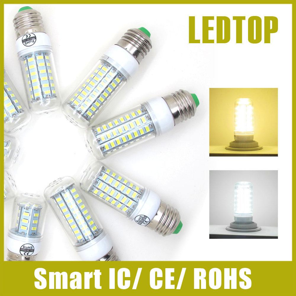 Upgrade E27 E14 Led Light 220V Smart IC Power Corn Lamps 5730 SMD 24 30 36 48 56 69 72 81 89Leds Bulb Long Life CE Rohs Lighting(China (Mainland))