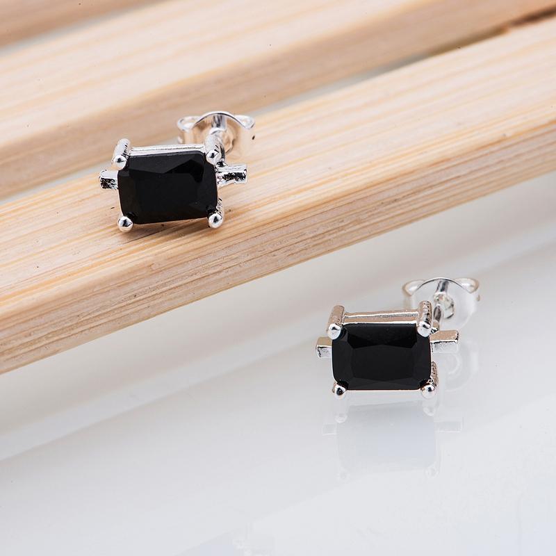 silver earrings , silver plated fashion jewelry , black stone quadrate /imxareea iakaqrra LQ-E406(China (Mainland))