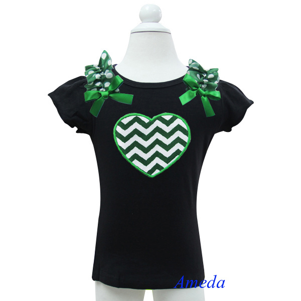 Girl St Patricks Day Green White Chevron Heart with Green Polka Dots Black Short Sleeves Top 1-10Y(Hong Kong)
