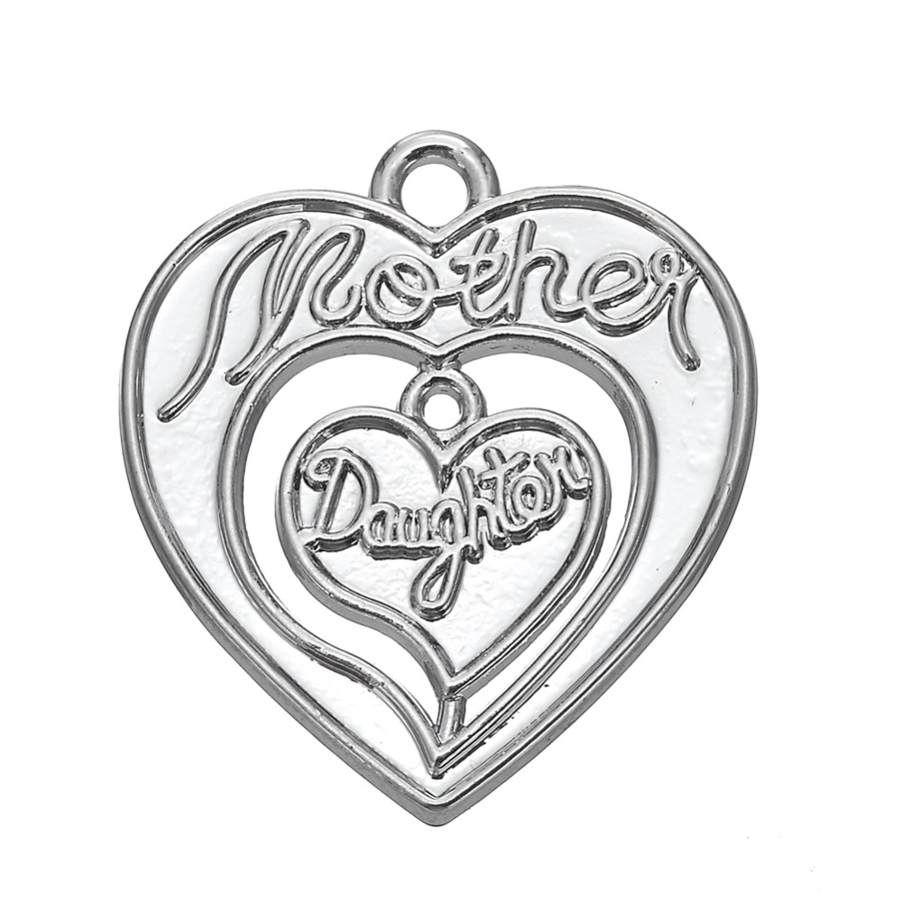 10pcs mother and daughter on heart charm for Mothers day<br><br>Aliexpress