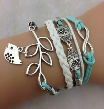 Owls & Lucky Branch/Leaf and Lovely Bird Charm Bracelet in silver plated- Mint Green Wax Cords and Leather Braid(China (Mainland))